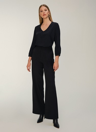 NGSTYLE Kolları Piliseli Bluz Siyah